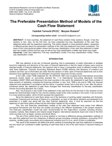 The Preferable Presentation Method of Models of the Cash Flow