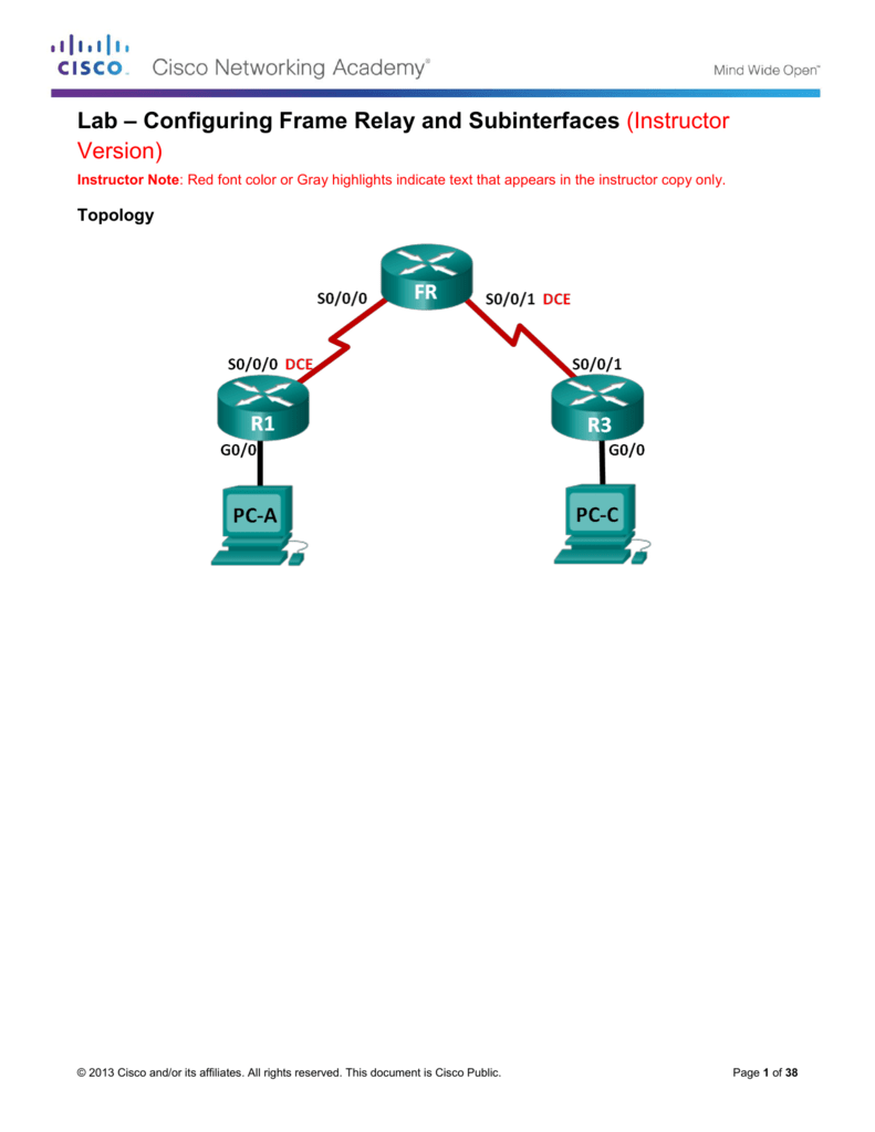 Lab – Configuring Frame Relay and Subinterfaces (Instructor Version)