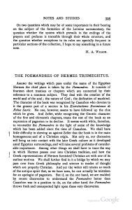 "[1864-1936], ""The Poemandres of Hermes Trismegistus,"" Journal of"
