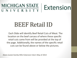 Identification of Beef Retail Cuts