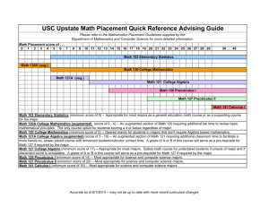 USC Upstate Math Placement Quick Reference Advising Guide