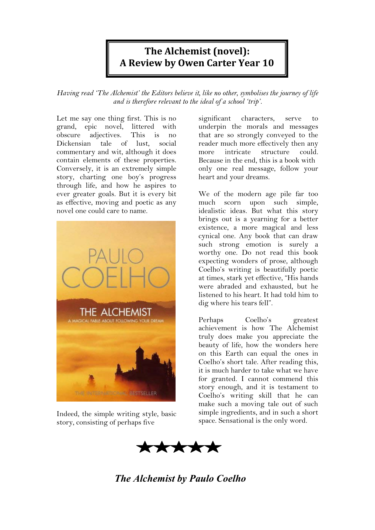 The alchemist analysis essay