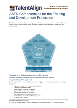 ASTD Competencies for the Training and Development