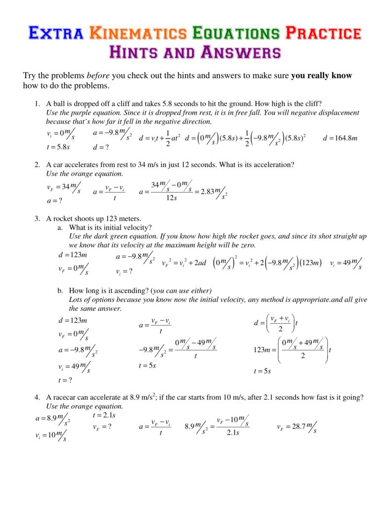 Extra Kinematics Equations Answers