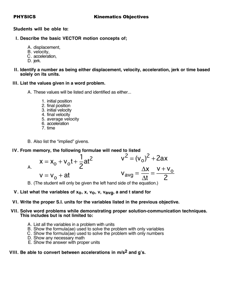 Kinematics Worksheet