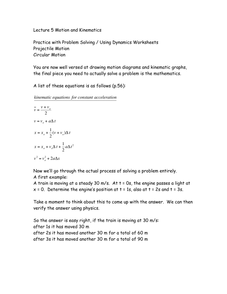 Lecture 5 Motion and Kinematics Practice with Problem Solving