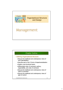 Organizational Structure and Design Chapter Outline Chapter Outline