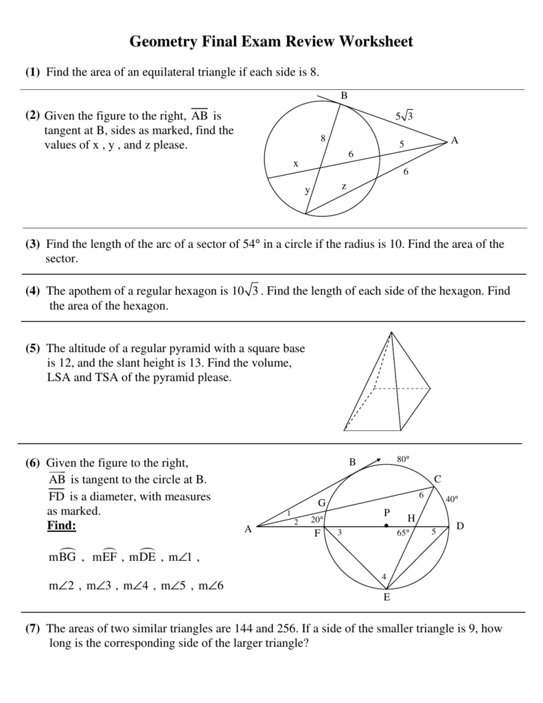 Pingry   Geometry Final Exam Review Worksheet