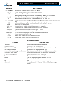 AWK cheat sheets - Biocomputing.it