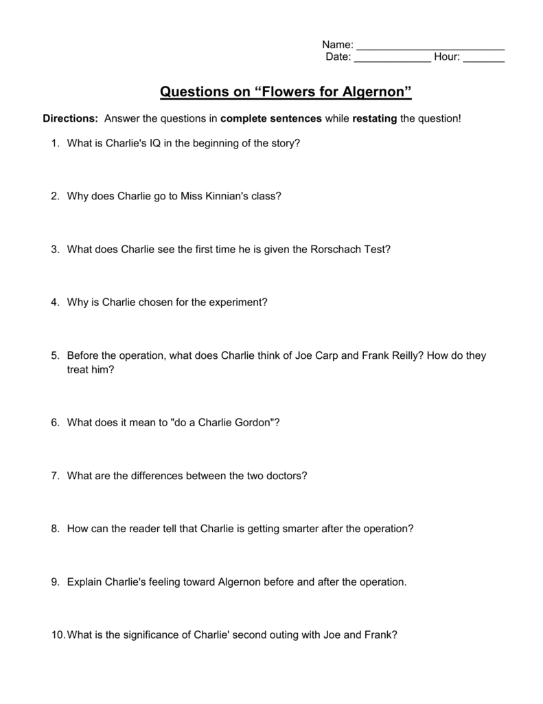 Questions on \u201cFlowers for Algernon\u201d , Reeths