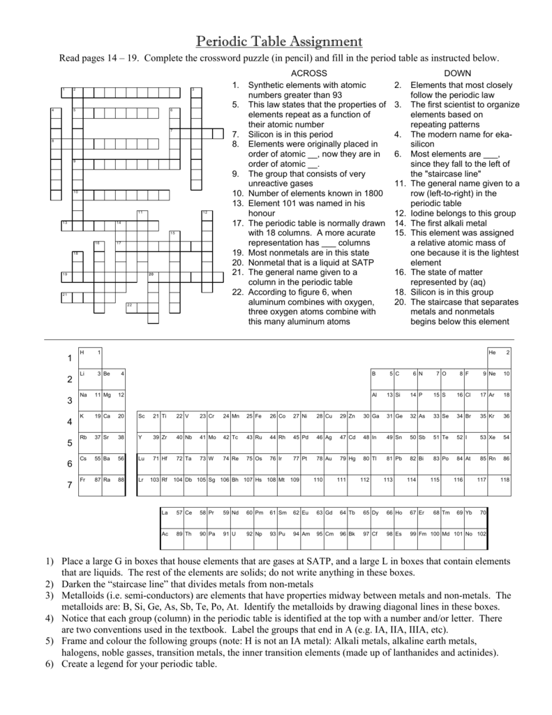 Periodic Table Crossword Puzzle Answers Elcho Table