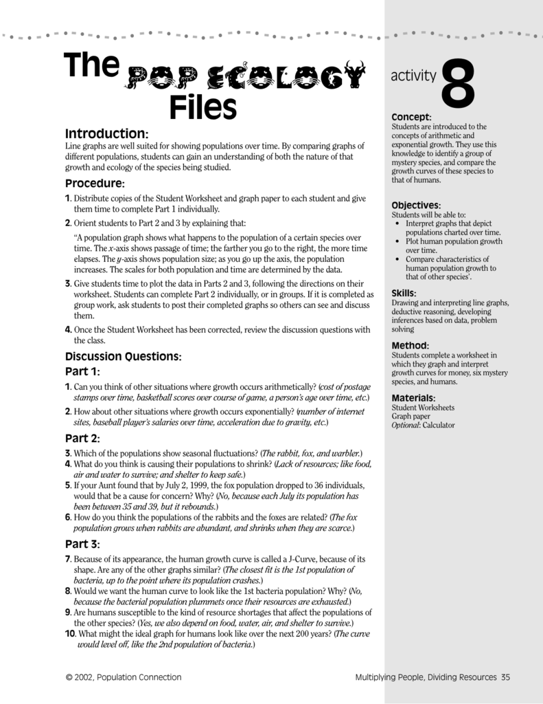 worksheet Human Population Worksheet population ecology worksheet