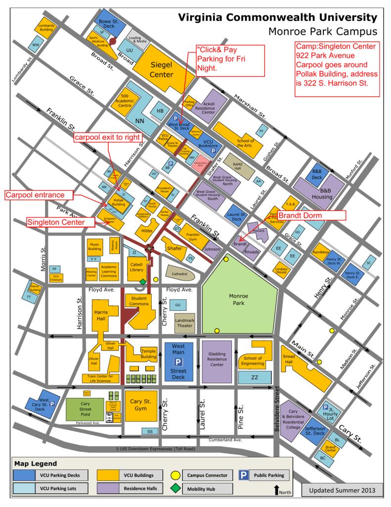 Vcu Campus Map Virginia Commonwealth University Monroe Park Campus