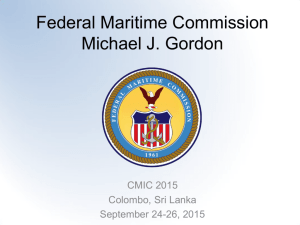 Federal Maritime Commission Michael J. Gordon