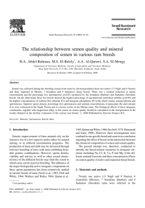 The relationship between semen quality and mineral composition of