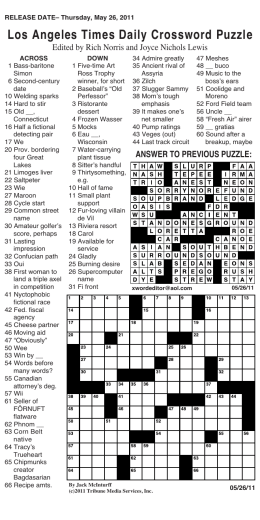 Los Angeles Times Daily Crossword Puzzle