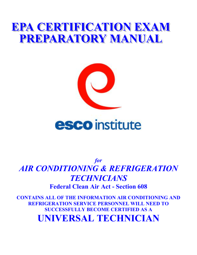 This Manual Was Developed By The Esco Institute