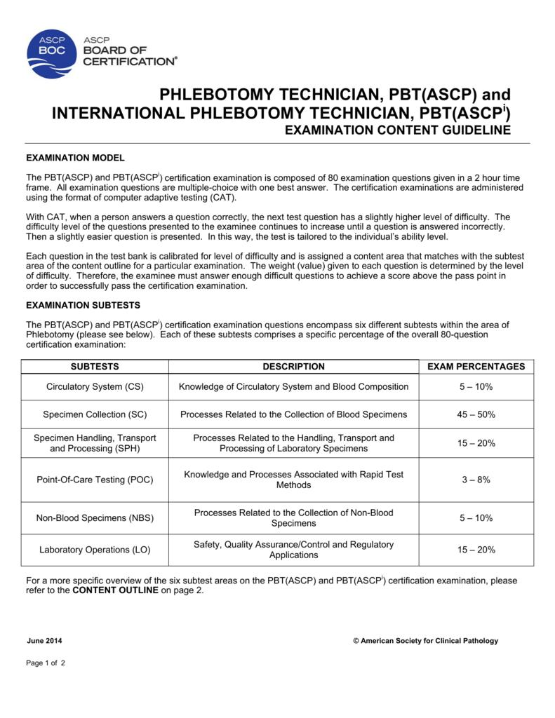 Phlebotomy Technician Pbtascp And International