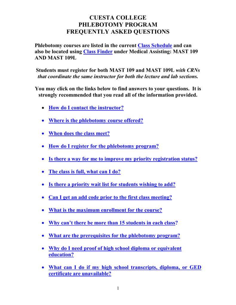 Phlebotomy Frequently Asked Questions