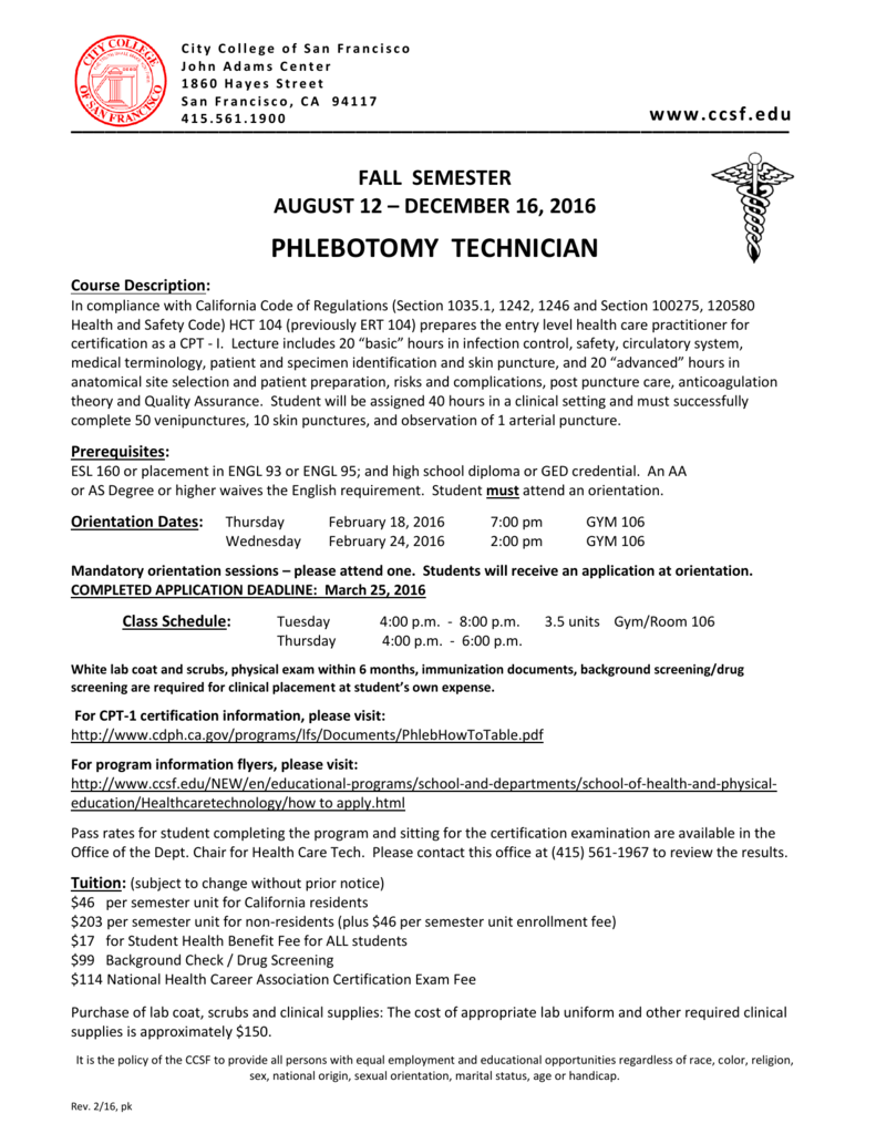 Phlebotomy Technician City College Of San Francisco