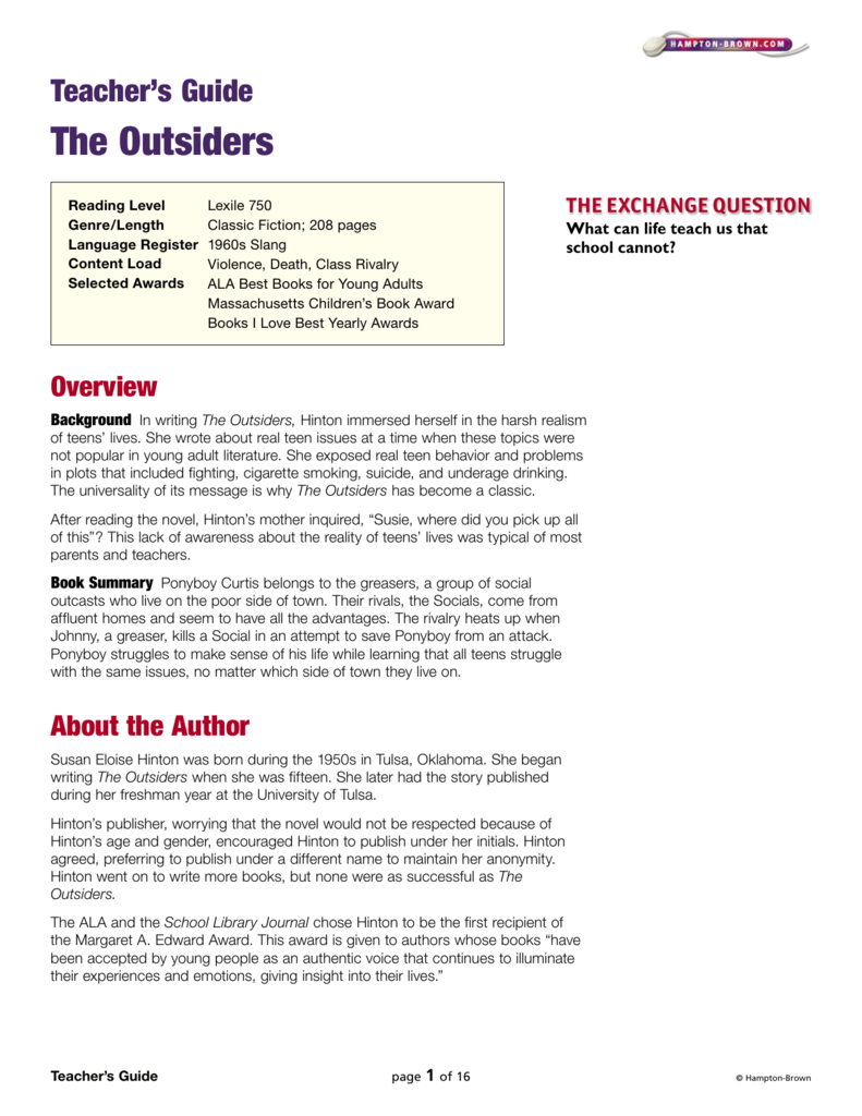 teacher s guide the outsiders