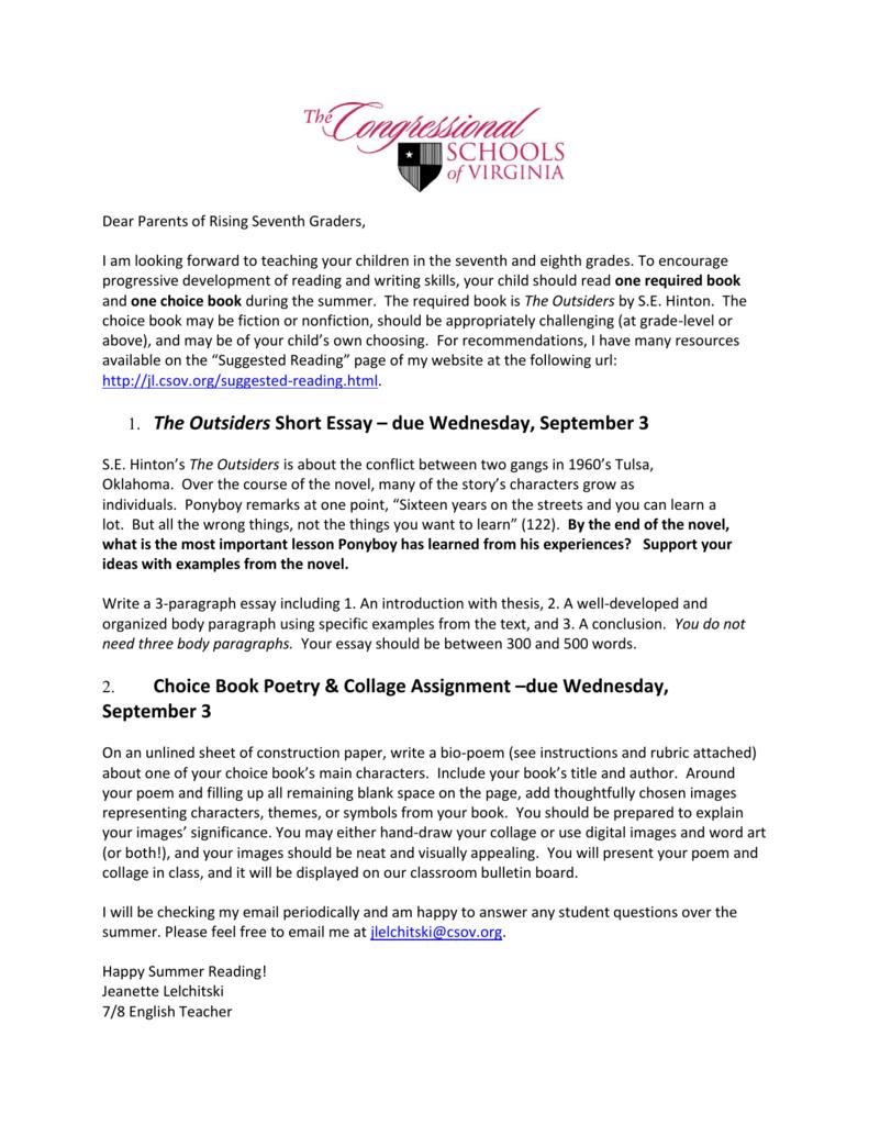 1. The Outsiders Short Essay – due Wednesday, September 3