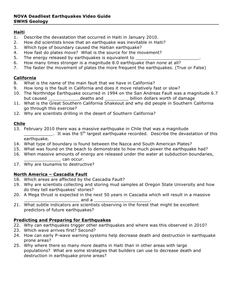 Worksheets Earthquake Worksheet nova deadliest earthquakes video guide