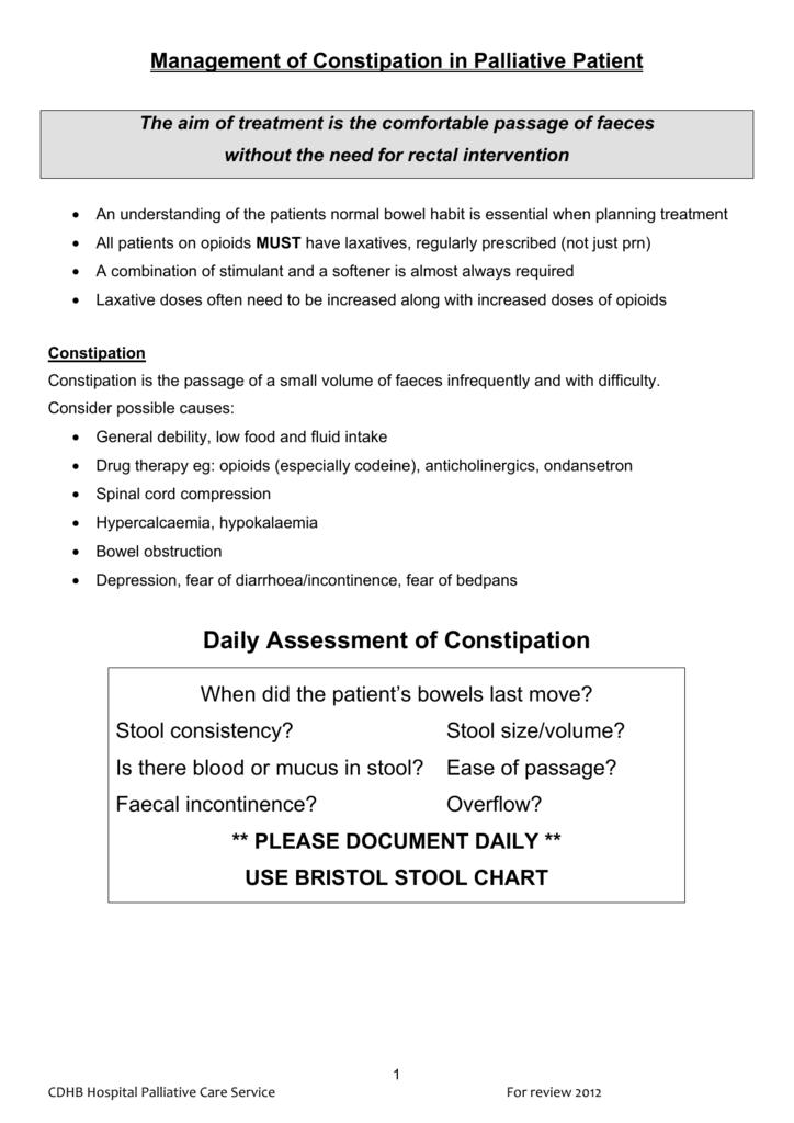 Management of Constipation in Palliative Patient