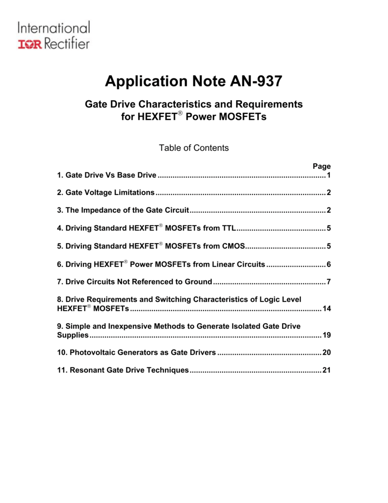 Application Note An 937 Gate Drive Philips 2n2222 Npn Switching Transistors Datasheet And Circuit For Times