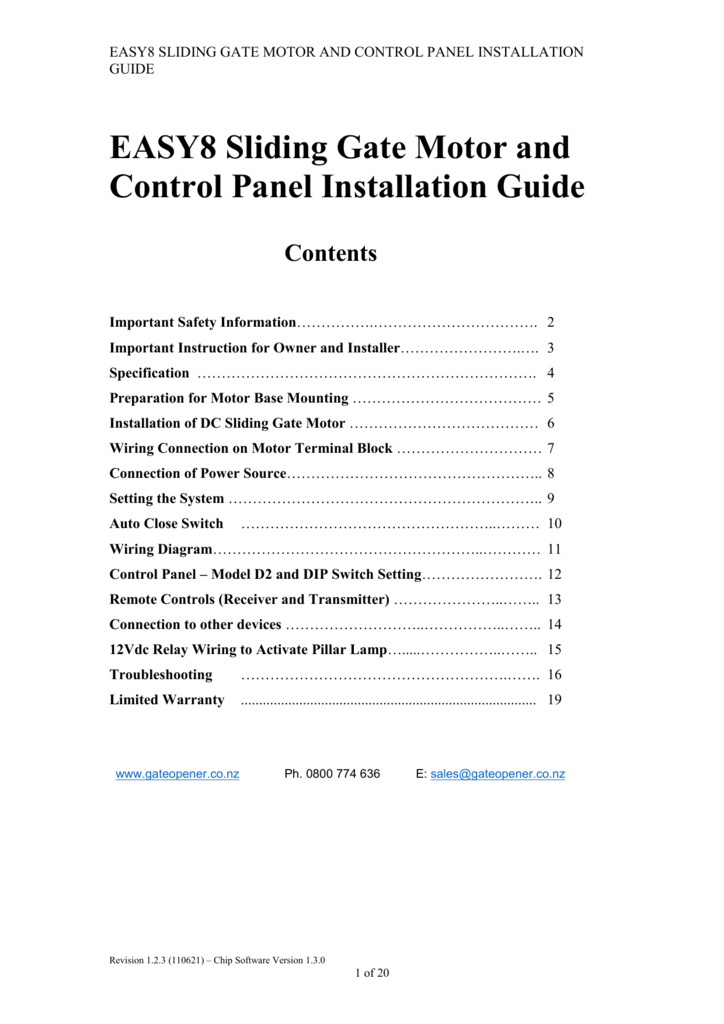 easy8 sliding gate motor and control panel installation guide easy8 sliding  gate motor and control panel installation guide contents important safety