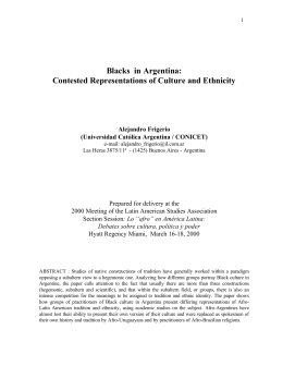 Blacks in Argentina - Latin American Studies Association