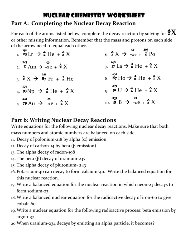 nuclear chemistry worksheet resultinfos. Black Bedroom Furniture Sets. Home Design Ideas
