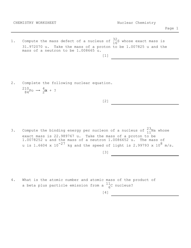 CHEMISTRY WORKSHEET Nuclear Chemistry Page 1 32 1 – Nuclear Equations Worksheet