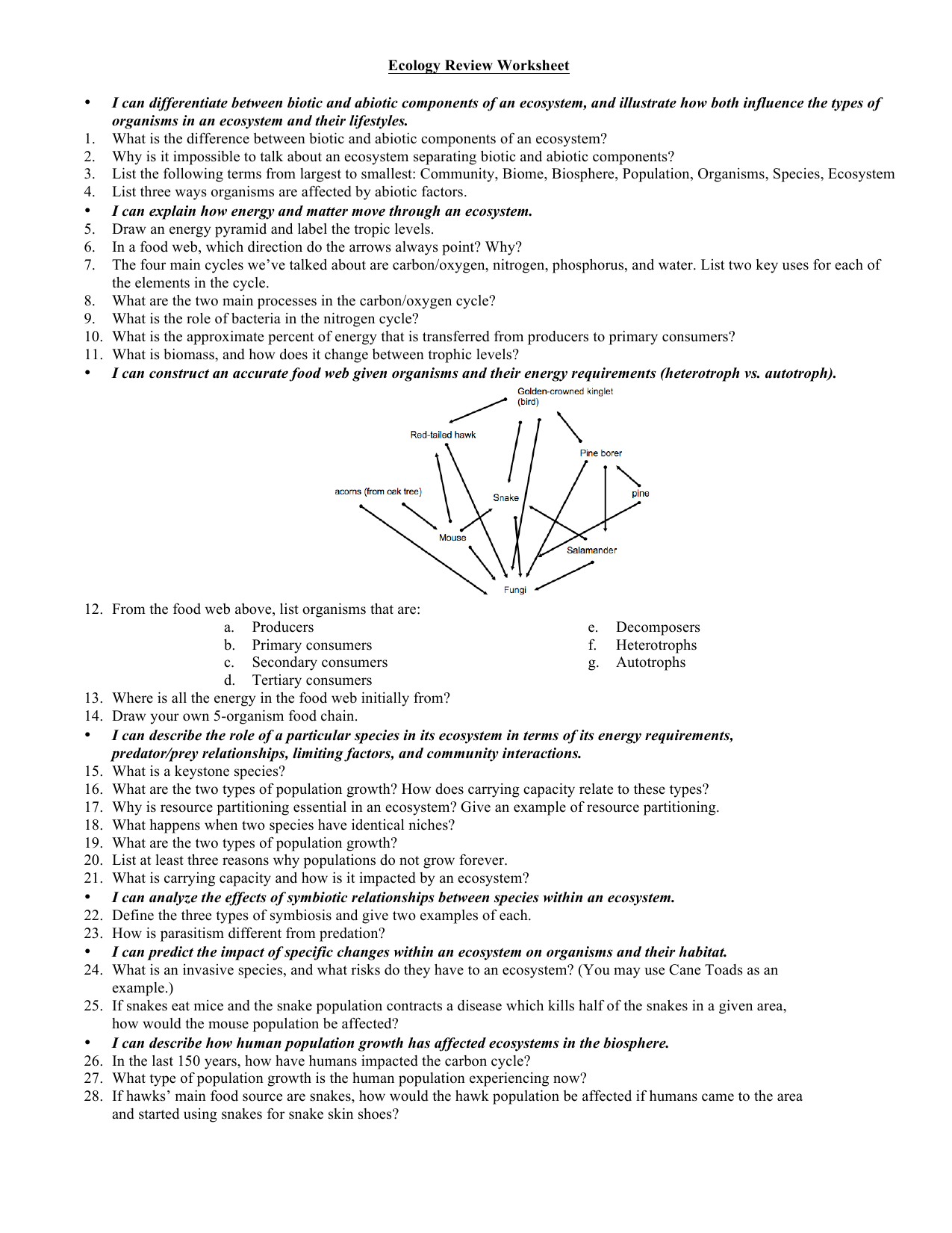 Workbooks predator and prey worksheets : Ecology Review Worksheet • I can differentiate between biotic and