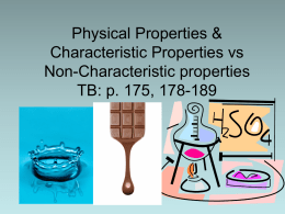 Physical Properties & Characteristic Properties vs Non