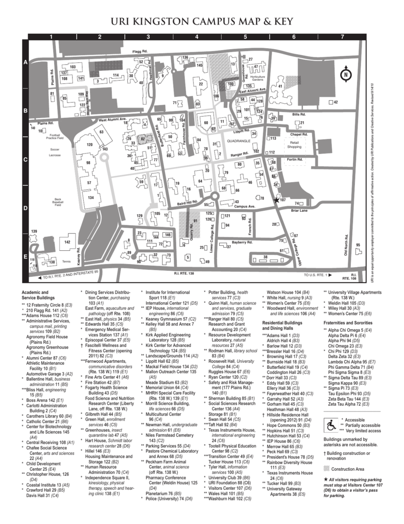 uri map of campus Uri Kingston Campus Map Key uri map of campus