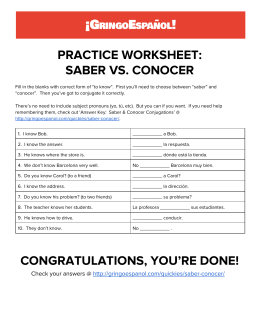 PRACTICE WORKSHEET: SABER VS. CONOCER