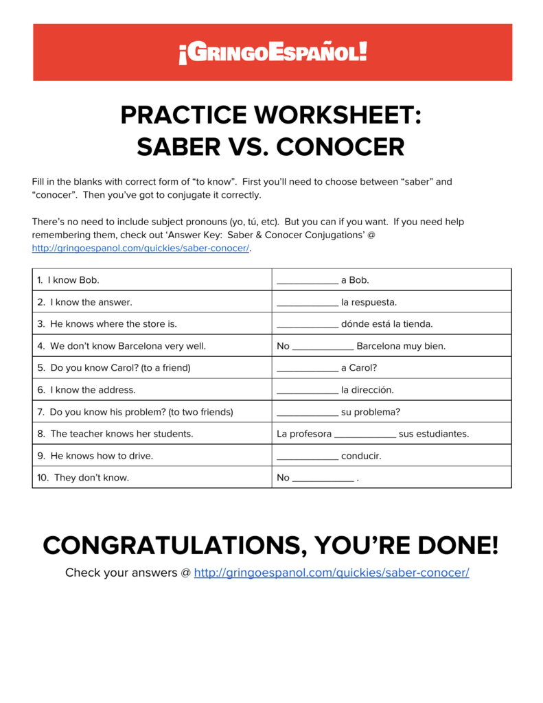 Practice Worksheet Saber Vs Conocer
