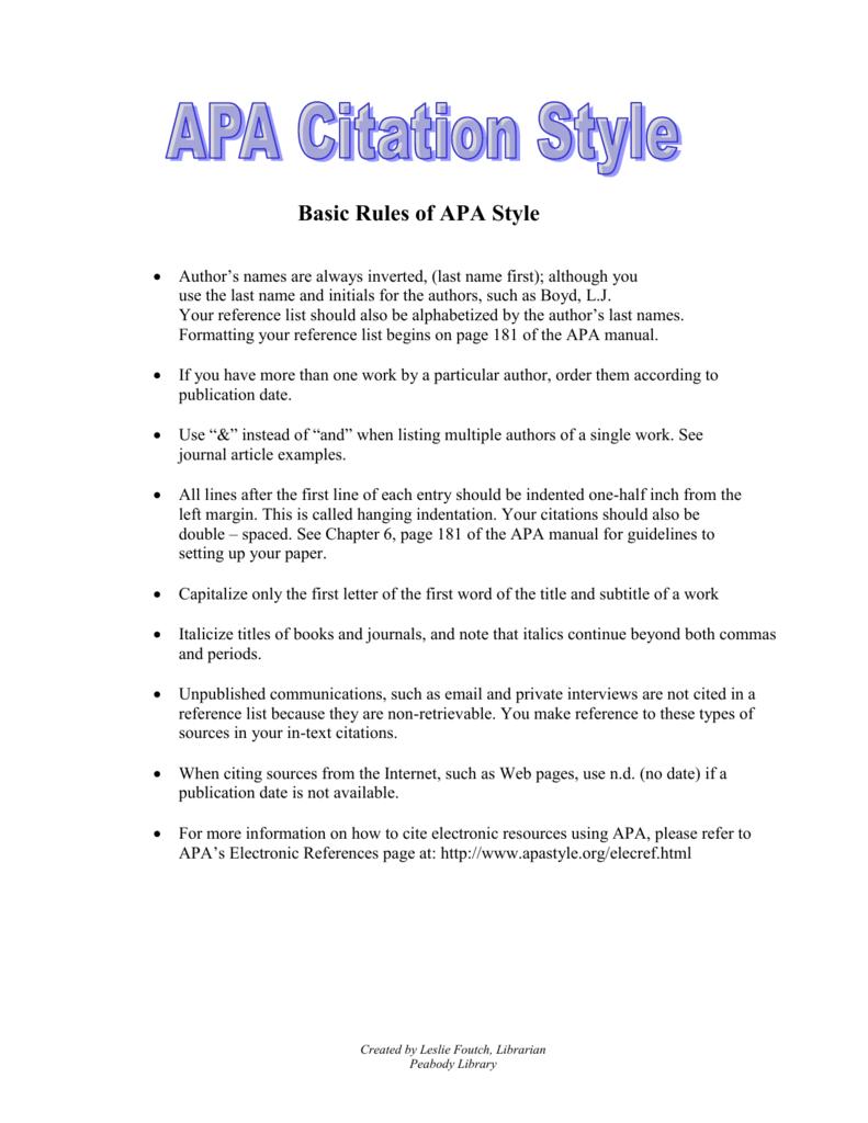 basic rules of apa style