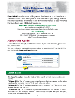 Quick Reference Guide PsycINFO on EBSCOhost