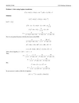 MATH 2574H 3/24 Problem Solutions Problem 1: Solve using