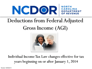 Deductions from Federal Adjusted Gross Income