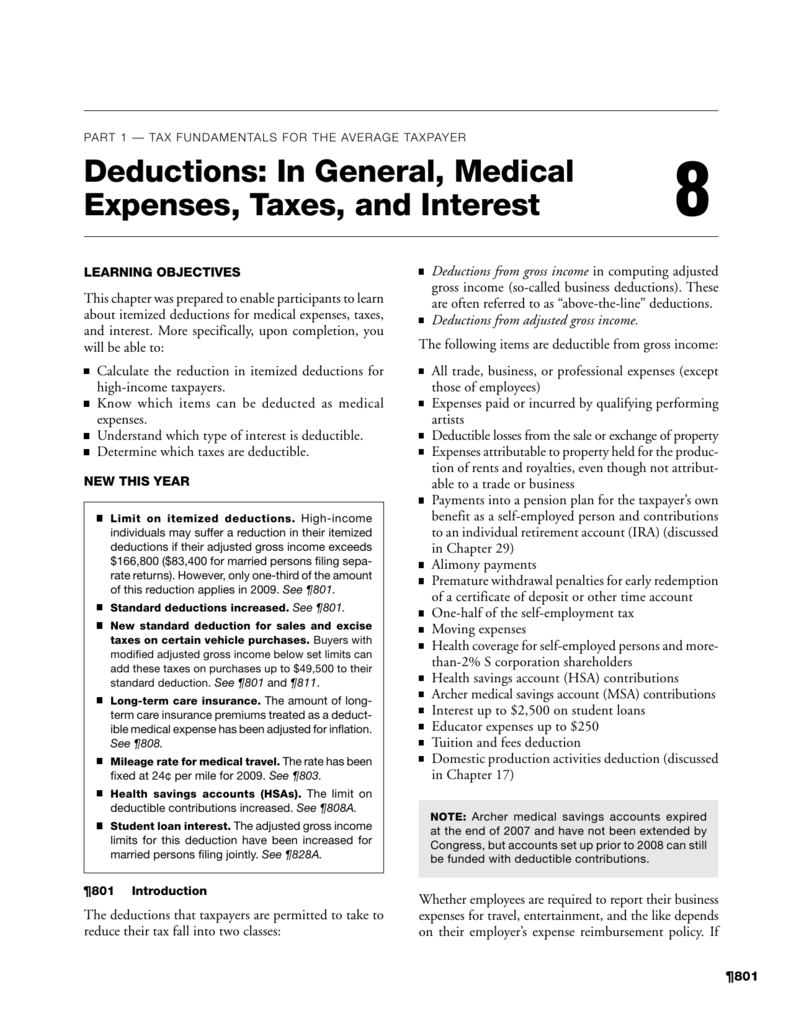 deductions in general medical expenses