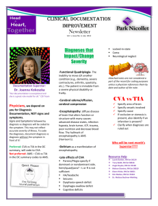 Clinical Documentation Improvement Newsletter CVA vs TIA