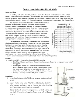 the solubility curve of potassium nitrate experiment report essay The solubility of potassium nitrate lab report the relationship is nonlinear, which means it isn't form a straight line when plotted on a graph now, there are three main factors, which affect solubility (besides pressure.