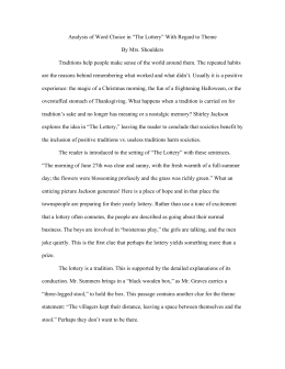 Essay On The Value Of Education Analysis Of Word Choice In The Lottery With Regard To Theme By Voltaire Essays also Essay For Graduate School Sample Analysis Of Tessie Hutchinson In The Lottery Dominant Impression Essay