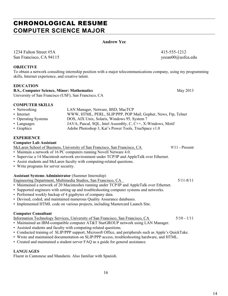 chronological resume computer science major - Resume Computer Science Major
