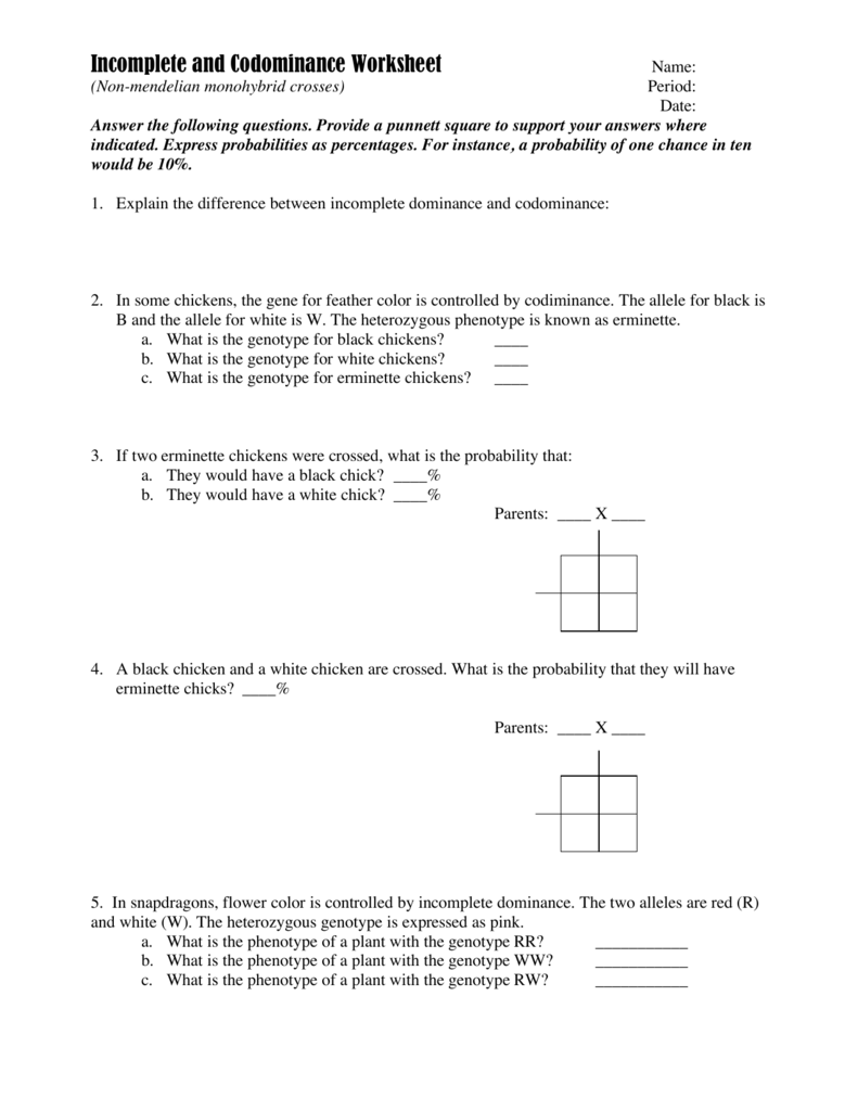 Incomplete and Codominance Worksheet – Multiple Allele Worksheet