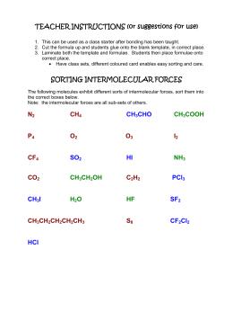 Intermolecular Forces Worksheet Name Period ______ 1. Define