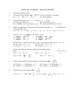 MATH 1720 – Precalculus – Final Exam, Fall, 2002